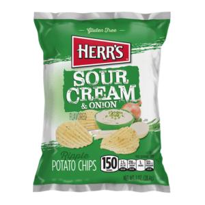 Herrs Sour Cream & Onion Ripple Chips 28g