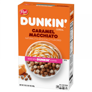 Post Dunkin' Donuts Caramel Macchiato Cereal, Made with Dunkin' Coffee 481g