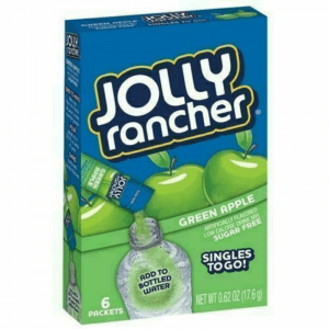 Jolly Rancher Green Apple Sugar Free, On-The-Go, Caffeine Free, Powdered Drink Mix 54g (6 Packets)